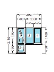 Вихід на балкон Rehau Euro-60 ( 700 х 2150 , 1350 х 1400 )