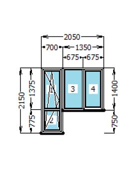Выход на балкон Rehau Euro-60 ( 700 х 2150 , 1350 х 1400 )