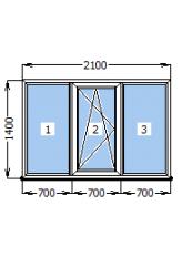 Окно Стеко S 300  2100 х 1400