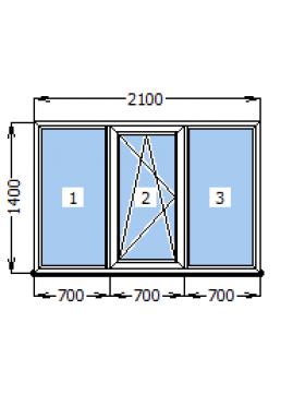 Окно Rehau Euro-60 2100х1400
